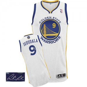 Maillot NBA Golden State Warriors #9 Andre Iguodala Blanc Adidas Authentic Home Autographed - Homme