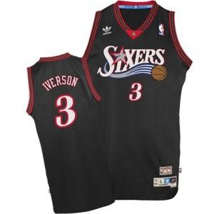 Maillot NBA Noir Allen Iverson #3 Philadelphia 76ers 1997-2009 Throwback Swingman Homme Adidas