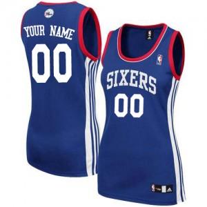Philadelphia 76ers Authentic Personnalisé Alternate Maillot d'équipe de NBA - Bleu royal pour Femme