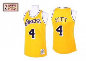 Los Angeles Lakers Mitchell and Ness Byron Scott #4 Throwback Authentic Maillot d'équipe de NBA - Or pour Homme