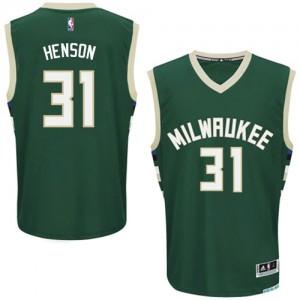 Maillot NBA Milwaukee Bucks #31 John Henson Vert Adidas Authentic Road - Homme