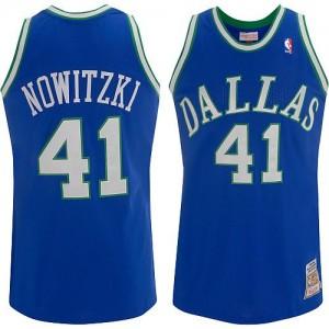 Maillot NBA Dallas Mavericks #41 Dirk Nowitzki Bleu Mitchell and Ness Authentic Throwback - Homme