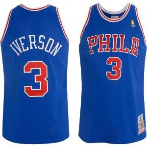 Philadelphia 76ers Mitchell and Ness Allen Iverson #3 Throwback Authentic Maillot d'équipe de NBA - Bleu pour Homme