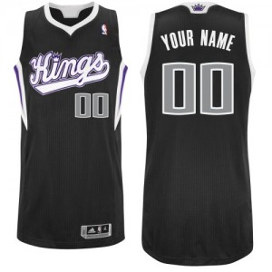 Maillot Adidas Noir Alternate Sacramento Kings - Authentic Personnalisé - Homme