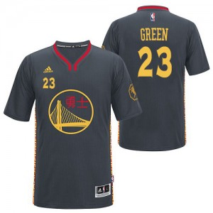 Maillot NBA Golden State Warriors #23 Draymond Green Noir Adidas Authentic Slate Chinese New Year - Homme