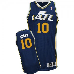 Maillot NBA Authentic Alec Burks #10 Utah Jazz Road Bleu marin - Homme
