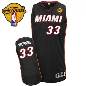 Maillot NBA Noir Alonzo Mourning #33 Miami Heat Road Finals Patch Swingman Homme Adidas