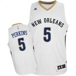New Orleans Pelicans Kendrick Perkins #5 Home Authentic Maillot d'équipe de NBA - Blanc pour Homme