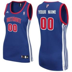 Maillot Adidas Bleu royal Road Detroit Pistons - Swingman Personnalisé - Femme