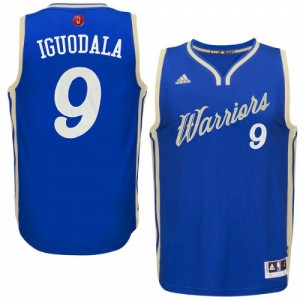 Maillot Adidas Bleu royal 2015-16 Christmas Day Authentic Golden State Warriors - Andre Iguodala #9 - Homme