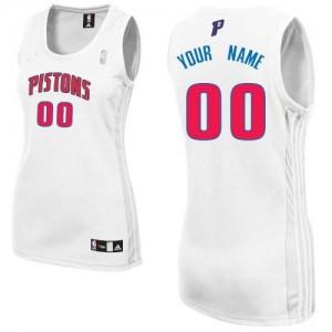 Detroit Pistons Authentic Personnalisé Home Maillot d'équipe de NBA - Blanc pour Femme