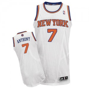 Maillot NBA Blanc Carmelo Anthony #7 New York Knicks Home Authentic Homme Adidas