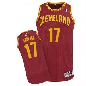 Maillot Adidas Vin Rouge Road Authentic Cleveland Cavaliers - Anderson Varejao #17 - Homme