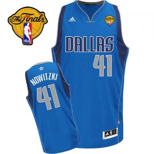 Maillot Swingman Dallas Mavericks NBA Road Finals Patch Bleu royal - #41 Dirk Nowitzki - Homme