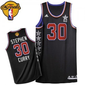 Maillot Authentic Golden State Warriors NBA 2015 All Star 2015 The Finals Patch Noir - #30 Stephen Curry - Homme