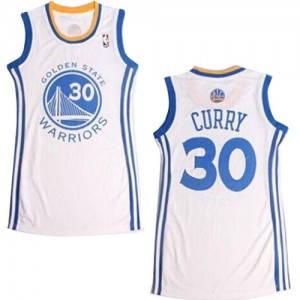 Maillot Authentic Golden State Warriors NBA Dress Blanc - #30 Stephen Curry - Femme