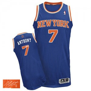 New York Knicks Carmelo Anthony #7 Road Autographed Authentic Maillot d'équipe de NBA - Bleu royal pour Homme
