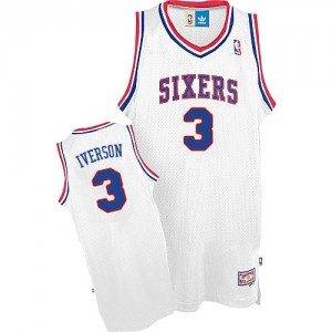 Maillot NBA Philadelphia 76ers #3 Allen Iverson Blanc Adidas Authentic Throwack - Homme