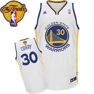 Golden State Warriors Stephen Curry #30 Home 2015 The Finals Patch Swingman Maillot d'équipe de NBA - Blanc pour Enfants
