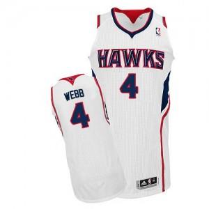 Maillot NBA Blanc Spud Webb #4 Atlanta Hawks Home Authentic Homme Adidas