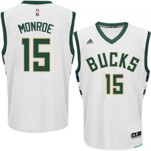 Maillot Authentic Milwaukee Bucks NBA Home Blanc - #15 Greg Monroe - Homme