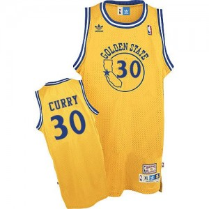 Maillot NBA Or Stephen Curry #30 Golden State Warriors New Throwback Day Swingman Homme Adidas