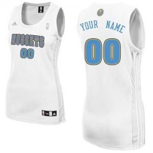 Denver Nuggets Personnalisé Adidas Home Blanc Maillot d'équipe de NBA 100% authentique - Swingman pour Femme