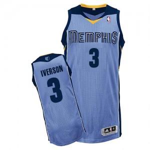 Memphis Grizzlies #3 Adidas Alternate Bleu clair Authentic Maillot d'équipe de NBA Vente pas cher - Allen Iverson pour Homme