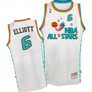 Maillot NBA Blanc Sean Elliott #6 San Antonio Spurs Throwback 1996 All Star Authentic Homme Mitchell and Ness